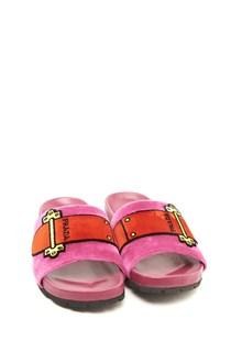 PRADA velvet slippers with buckle embroidery