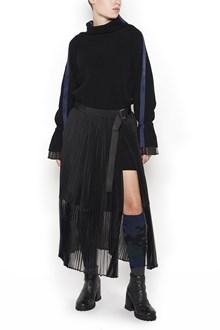 SACAI Wool Dress with Pleated Skirt