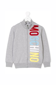 MOSCHINO KID TEEN 'Moschino' side printed zipped sweatshirt