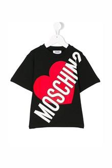 MOSCHINO KID TEEN 'Moschino' and 'Heart' printed oversize t-shirt