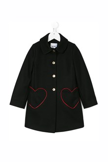 MOSCHINO KID TEEN wool coat with heart pockets