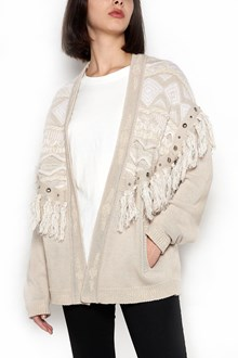 LANEUS Cardigan with fringes and studs