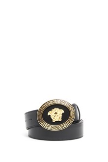 VERSACE Leather belt with round buckle with 'Medusa'