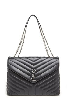 SAINT LAURENT Leather large 'Lou Lou' with silver monogramme