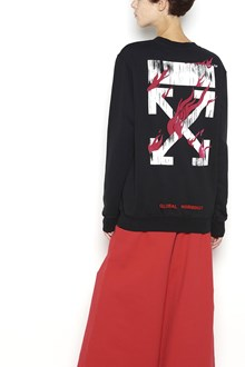 OFF-WHITE crew neck sweatshirt with 'fire' print on back