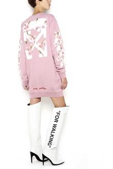 OFF-WHITE cotton crew neck sweatshirt dress with 'diag cherry' print