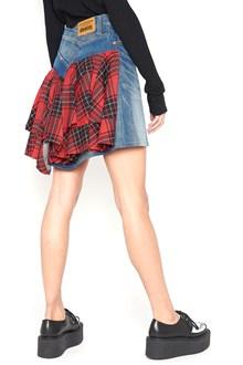 JUNYA WATANABE Denim Mini Skirt with tartan wool check back