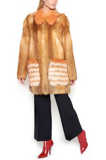 FENDI Multicolor Fur Coat with lateral Bows