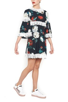 DOLCE & GABBANA Dress with 'Rose' Print and White contrast Tulle