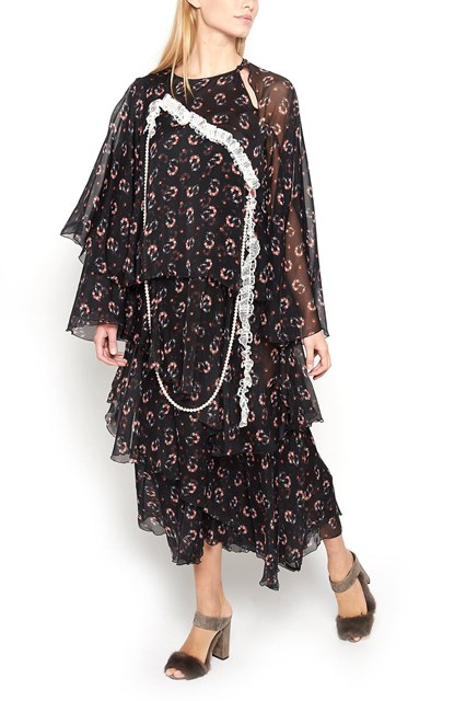 GIACOBINO Georgette Dress with Flowers Print