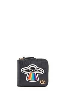 GUCCI Leather zipped wallet with 'Ufo' patch