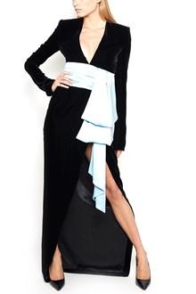 ALEXANDRE VAUTHIER Dress with frontal split and silk light blue belt