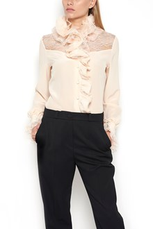 LANVIN Silk and Lace Blouse with Turtle Neck