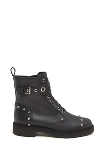 FENDI Leather Biker Boots with Studs and Logo