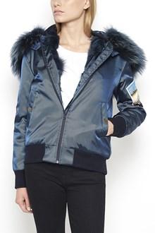 MR & MRS ITALY Nylon Bomber Jacket with Fox Fur