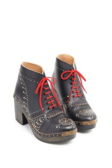 BURBERRY Ankle Boots with red laces