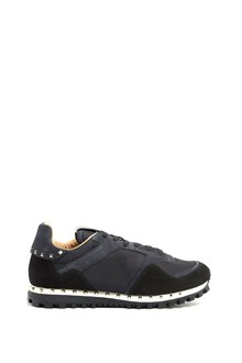 VALENTINO GARAVANI Suede studded sneakers with tone on tone camouflage print